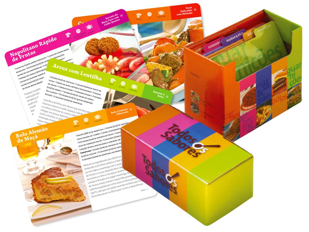 Projeto Gráfico de Caixa e Fichas com Receitas (editora Melhoramentos).
