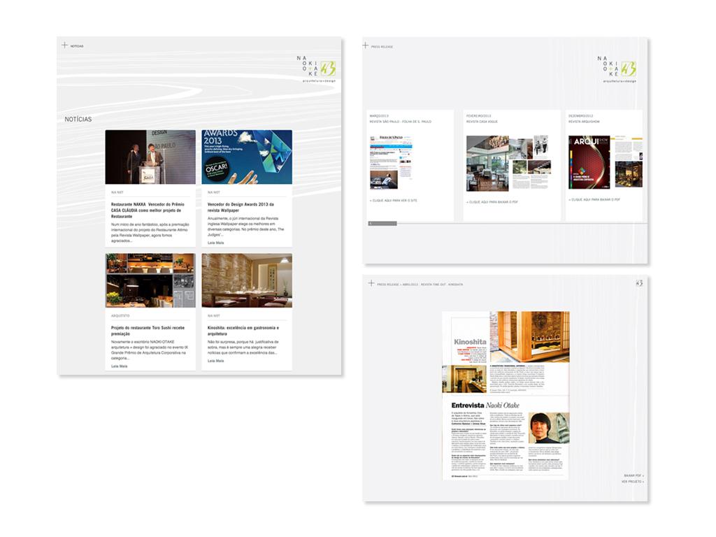 Telas do Website e integração com o sistema wordpress em notícias (acesse o site, clicando aqui).